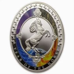 2014 1 oz Silver Year of the Horse Oval shaped