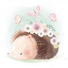 Alfabeto animal - a Hedgehog Art, Cute Hedgehog, Cute Animal Illustration, Cute Animal Drawings, Cute Drawings, Hedgehog Illustration, Cute Images, Cute Pictures, Cute Bunny Cartoon