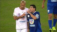 Maradona argues with Veron during peace match