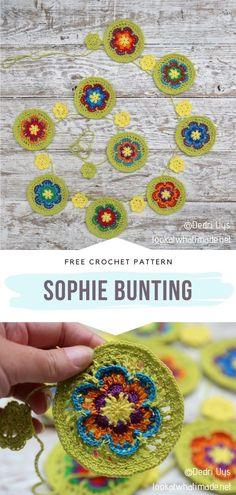 Crochet Round, Crochet Home, Love Crochet, Crochet Flowers, Knit Crochet, Crochet Bunting Free Pattern, Crochet Garland, Crochet Blanket Patterns, Crochet Projects