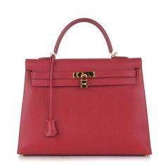 This is an authentic HERMES Courchevel Sellier Kelly 35 in Rouge Vif. This stylish Kelly tote is crafted of stamped calfskin leather in lipstick red.