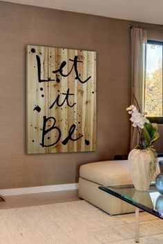 Let It Be Brown Distressed Wood Wall Art