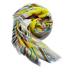 Loewe Multicolor Stripe Scarf ($490) ❤ liked on Polyvore featuring accessories, scarves, multi, colorful shawls, striped shawl, striped scarves, multi colored scarves and colorful scarves