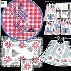 Old Hand Embroidery Cross Stitch for Gingham by BlondiesSpot