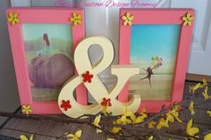 ♥♥ Custom Designed Solid Wood Peach & Yellow With Flowers  &  Photo Frame ♥♥