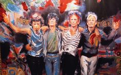 A painting of The Rolling Stones by Ronnie Wood Illustrations, Illustration Art, Ronnie Wood Art, Rolling Stones Album Covers, Keith Richards Guitars, Ron Woods, Charlie Watts, British Rock, Fan Art