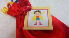 PARTY PACK Sets of 6 to 12 - Wonder Woman / Super Hero Girl Red Favor Bags (Filled) - by TeatotsPartyPlanning on Etsy