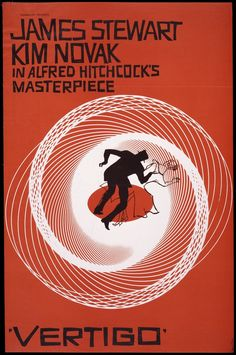 Poster for the film Vertigo, directed by Alfred Hitchcock. Designed by Saul Bass , 1961