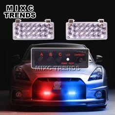 2X22 플래시 LED 라이트 레드 블루 경찰 비콘 라이트 비상 경고 스트로브 빛 자동차