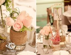 #DIY Vintage Wedding decor I love the burlap and mason jar idea!