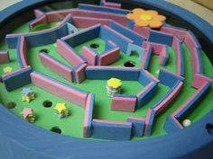 foam marble maze for fine motor, eye/hand coordination Cute Kids Crafts, Craft Activities For Kids, Diy Crafts For Kids, Projects For Kids, Craft Ideas, Dollar Store Crafts, Dollar Stores, Marble Maze, Rainy Day Fun