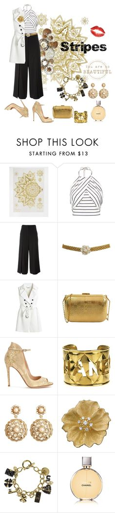 """""""Just a little bit of gold dust..."""" by modgirl71 ❤ liked on Polyvore featuring Orelia, T By Alexander Wang, Chanel, White House Black Market, Gianvito Rossi, Brooks Brothers and stripedshirt"""