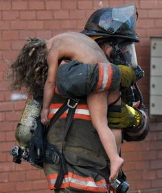 Fireman, real heroes. This little girl survived because of one man.