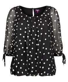 Black Polka Dot Chiffon Blouse