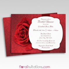 Red Rose Damask Floral Bridal Shower Invitations - Floral Invitations