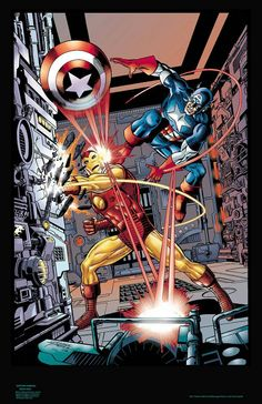 The Invincible Iron Man versus Captain America by George Perez. Marvel Comics Art, Marvel Heroes, Marvel Movies, Comic Book Characters, Comic Books Art, Comic Art, George Perez, Avengers Art, Captain America Comic