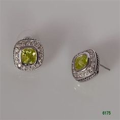 Peridot Silver Bezel with Clear CZ Pave Post Earrings