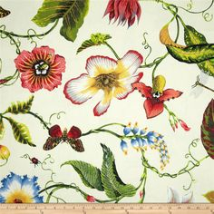 Duralee Home Flora Imperialis Ivory/Multi from @fabricdotcom  Screen printed on a cotton/linen blend this medium/heavy weight fabric is very versatile. This fabric is perfect for window treatments (draperies, valances, curtains, and swags), pillow shams, duvet covers, toss pillows, slipcovers and upholstery. Colors include yellow, green, burgundy, black, grey, red, coral pink, blue and ivory.