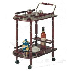 Wood-Veneer-Serving-Cart-In-Cherry-Finish-With-Wine-Rack-And-2-Shelves