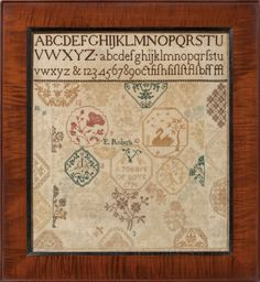 Finkel & Daughter present this antique sampler by Needlework Picture on Laid Paper, probably England, circa 1820 Cross Stitch Samplers, Cross Stitching, Cross Stitch Patterns, Embroidery Sampler, Diy Embroidery, Made By Mary, Sewing Notions, Needlework, Yorkshire England