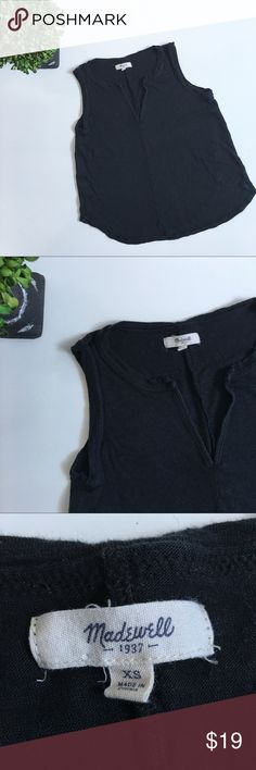 "MADEWELL Black Linen Split-neck Tank Gently used condition. Exposed seems on this top make it perfect for casual wear. Chest: 17"". Waist: 18 1/2"". Length: 19 1/2"". Ask any questions before purchasing. Madewell Tops Tank Tops"