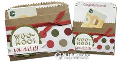 PROJECT: Cool Bravo Kraft Tag a Bag Gift Card holder | Stampin Up Demonstrator - Tami White ——— Stampin Up Supplies • Bravo Photopolymer Stamp Set #135380 • Basic Black Archival Stampin Pad #140931 • Real Red Classic Stampin' Pad 	#126949 • Wild Wasabi Classic Stampin' Pad #126959 • Pacific Point Classic Stampin' Pad #126951 • Daffodil Delight Classic Stampin' Pad #126944 • Daffodil Delight 8-1/2X11 Card Stock #119683 • Whisper White 8-1/2X11 Card Stock #100730 • Banner Punch #133519 • Big…