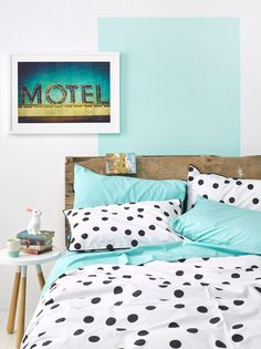 Collected by LeeAnn Yare · Bed Linen - The Design Files Dream Bedroom, Home Bedroom, Bedroom Decor, Bedroom Scene, Bedrooms, Polka Dot Bedding, Black Duvet Cover, The Design Files, New Room