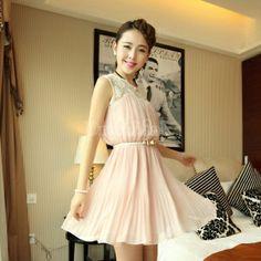 $ 8.84 New Elegant Women's Lace Sleeveless Chiffon Pink Dress Vest Dress With Belt