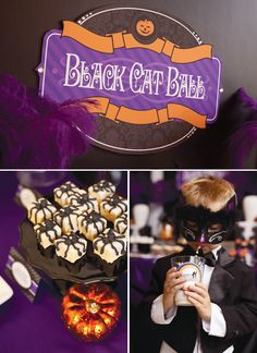 Black cat ball theme party party halloween kids party ideas theme party