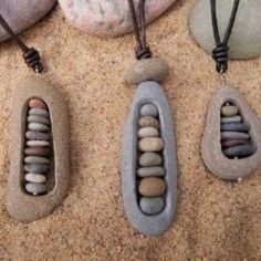 Rock jewelry. Maybe make frame from clay & fill with beads?