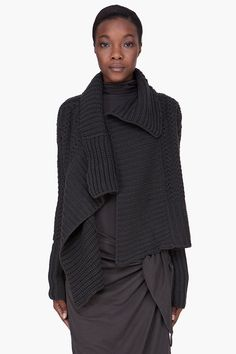 [asymmetry] -- DAMIR DOMA Charcoal Wool Cashmere Knit Cardigan