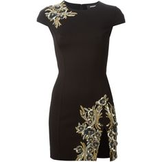 DSQUARED2 fitted mini dress (£700) found on Polyvore featuring dresses, black, short black dresses, sequin dress, short fitted dresses, zipper back dress and embroidered dress