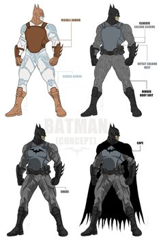 Some 'else world' designs for Batman. Making him more home-made looking. More post-apocalyptic/tactical/military/cop...etc...
