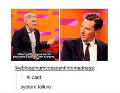 Harrison Ford and Benedict Cumberbatch 💜 Dc Movies, Movies And Tv Shows, Movie Tv, Tumblr Funny, Funny Memes, Hilarious, Funny Facts, Funny Quotes, Geeks