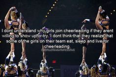 Cheerleading requires dedication. Give it your all 100% of the time