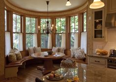 rounded kitchen table nook