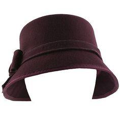 Winter Wool Felt Elegant Ribbon Bow Cloche Bell Bucket Hat Cap Adjustable Purple | eBay