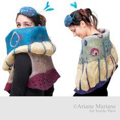 Extra long nuno felt fiber art vest soft merino by ArianeMariane