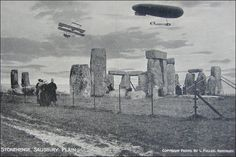 Old Stonehenge postcard with airship