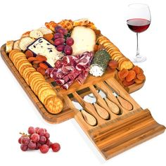 Bamboo Cheese Board and Knife Set, Wood Charcuterie Platter and Serving Meat Cheese Board with Slide-Out Drawer for Cutlery, 4 Stainless Steel Knives and Server Set Charcuterie Recipes, Charcuterie And Cheese Board, Charcuterie Platter, Cheese Board Set, Party Food Buffet, Party Food Platters, Cheese Platters, Serving Platters, Yummy Appetizers