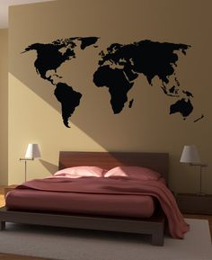 Great for a wall in the study! World Map Wall Decal Sticker by HappyWallz, $34.99
