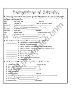 Comparison of Adverbs - ESL worksheet by Worksheets For Grade 3, Homeschool Worksheets, Grammar Worksheets, Printable Worksheets, Have Fun Teaching, Teaching Reading, Basic Grammar, English Grammar, English Language