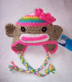 love this! Crochet Character Hats, Sock Monkey Hat, Rainbow Socks, Cute Socks, Girls Rules, Crochet Things, Baby Photos, Mother Day Gifts, Crochet Baby
