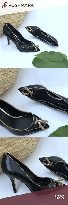 "WHITE HOUSE BLACK MARKET black Tassel pumps 7.5 White house black market Pumps. Black with tan piping and tassels. Size 7.5 Still in good condition. About 3.7"" heels. White House Black Market Shoes Heels"