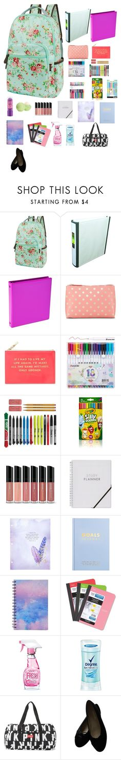 """""""Harmonys Book bag"""" by savannahtaylor950 on Polyvore featuring Samsill, Shiraleah, Kate Spade, Eos, Bare Escentuals, kikki.K, Forever 21, Mead, Moschino and Degree"""