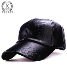 Krgvxfs Mens Genuine Leather Baseball Cap Winter Warm Russian Real Leather caps Hats