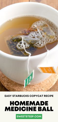See how easy it is to make Starbucks Medicine Ball drink at home using exactly the same Teavana tea bags as Starbucks. #starbucks #medicineball #drink #tea #athome #diy #forcold #forsorethroat Starbucks Tea, Starbucks Recipes, Bomb Drinks, Diet Drinks, Beverages, Tea Recipes, Copycat Recipes, Starbucks Medicine Ball Recipe, Latte Recipe