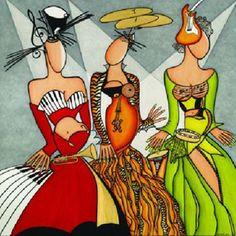 """Diane Dufresne """"Les triplettes de Montréal"""" Oeuvre créée pour le festival de jazz de Montréal. Illustration Photo, Illustrations, Diane Dufresne, Montreal, Festival Jazz, Canadian Artists, African Art, Oeuvre D'art, Great Artists"""
