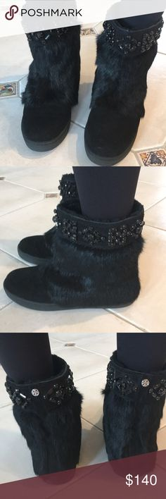 AUTHENTIC TORY BURCH BLACK BOOTIES AUTHENTIC TORY BURCH BLACK BOOTIES. COMES IN BOX WITH DUST BAG. SIZE 7. MINT CONDITION. DESCRIPTION IN PIC RABBIT FUR/SPLIT SUEDE. BLACK RHINESTONES ALL OVER THE TOP. Tory Burch Shoes Winter & Rain Boots