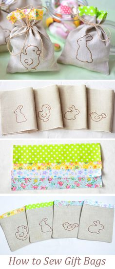 How to Sew Sweet Easter Gift Bags. Tutorial DIY http://www.free-tutorial.net/2017/04/how-to-sew-gift-bags.html